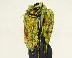 Green fish net wool felted scarf by Jane Bo, via Flickr