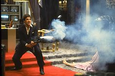 Scarface is a 1983 gangster film, a remake of the 1932 classic, directed by Brian De Palma staring Al Pacino in the role of a tempestuous Cuban emigrant, Tony Montana. Al Pacino, Famous Movie Scenes, Famous Movies, Charles Bronson, Pablo Escobar, Michelle Pfeiffer, Olivia Wilde, Dc Movies, Good Movies