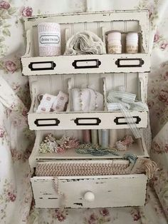 Love this little old spice rack redone as a art supply cabinet for lace & such. Almost any spice rack would make a good starting place for craft storage. Shabby Chic Crafts, Vintage Shabby Chic, Shabby Chic Homes, Shabby Chic Decor, Painted Furniture, Diy Furniture, Craft Room Storage, Craft Rooms, Old Spice
