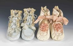 1898___ Bootees. leather, silk, linen. (probably) French.
