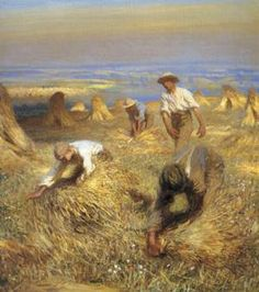 Sir George Clausen, 'Harvest (Tying the Sheaves)' August is Lammas Day, the earliest Anglo-Saxon festival of the harvest - a day of. Gottfried Helnwein, Ecole Art, English Artists, Royal College Of Art, Oil Painting Reproductions, Figure Painting, Artist At Work, Landscape Art, Harvest