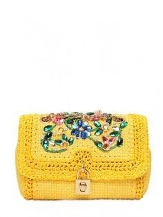 Clutch in rafia gialla con decorazione floreale Dolce & Gabbana