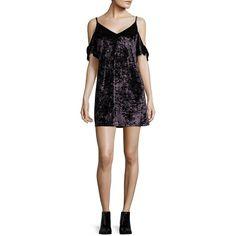 Design Lab Lord & Taylor Crushed Velvet Cold-Shoulder Shift Dress ($88) ❤ liked on Polyvore featuring dresses, eggplant, crushed velvet dress, flutter-sleeve dress, v neck dress, v neck short dress and short dresses