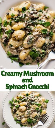 This creamy mushroom and spinach gnocchi is a restaurant-worthy dinner made in one pan and ready in less than 30 minutes! White wine and parmesan cheese make this sauce extra amazing.