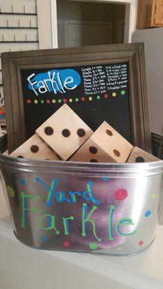 DIY Outdoor games!  Yard Farkle!!!!