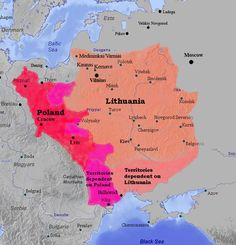 Map of The Grand Duchy of Lithuania and The Kingdom of Poland, 1387
