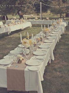 outdoor wedding reception setup - burlap table runner, rustic, yellow + white decor #LittleBorrowedDress