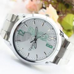 White dial green digital steel strip watch