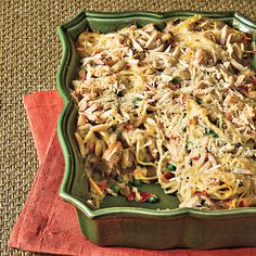 Chicken tetrazzini with prosciutto and peas - a gourmet twist on a retro classic. I made this last weekend and substituted whole wheat pasta and light alfredo. It's a keeper!