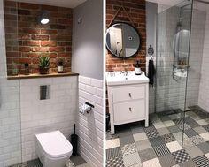 Biała cegła i cegła czerwona w małej łazience Steampunk Home Decor, Steampunk House, Bad Inspiration, Bathroom Inspiration, Bathroom Design Small, Bathroom Interior Design, Small Downstairs Toilet, Industrial Farmhouse Decor, Master Bathroom