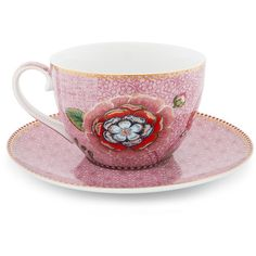 Pip Studio Spring To Life Cappuccino Cup & Saucer - Pink ($18) ❤ liked on Polyvore featuring home, kitchen & dining, drinkware, pink, pink cup and saucer, porcelain cups and saucers, pip studio and pink saucer