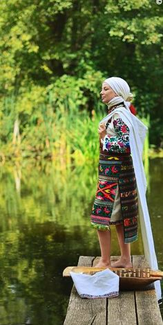 West Ukraine. A Eastern European wonderful head scarf and outfit.