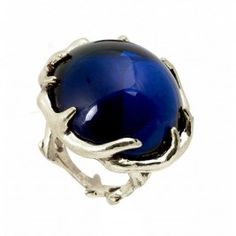 House of Harlow Antler Ring in Silver with Round Navy Cabochon