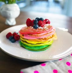 Gorgeous! Rainbow Pancakes recipe for St. Patrick's Day at Oh Joy
