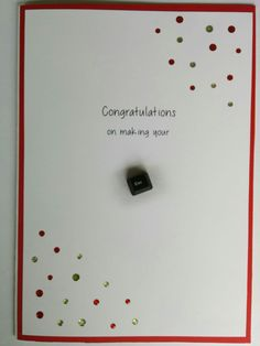 """Leaving card - larrge size. Computer generated words, a few sparkles, a recycled """"esc"""" key with grey chalk shadow.  I work in a large department, with over 100 staff.  There are always comings and goings - especially amongst the nurses, so I make quite a few leaving cards.  I tend to make them almost A4 size, often with an extra page inside so there is plenty of room for colleagues to sign and write a goodbye wish.  #masculine #leaving #goodbye"""