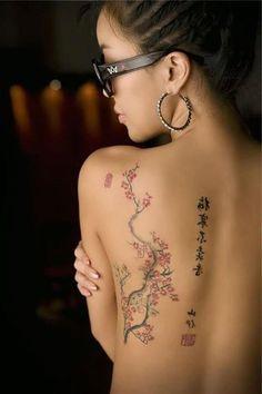 Kanji y flor de cerezo