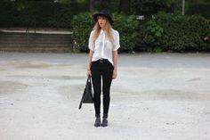 Zara Sandals, Asos High Waist Slim, Asos Hat, Maje Shirt, Zara Bag