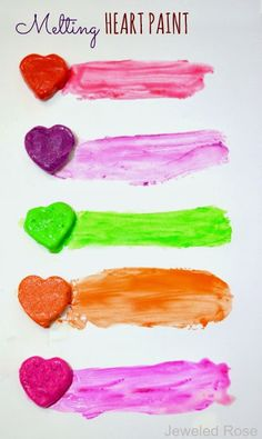 Melting HEART Paint- As the paint melts it undergoes many transformations in texture and consistency, giving kids a ton of ways to create and play in one simple activity.