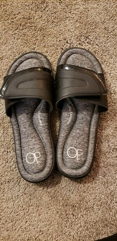 a8bc07724 OP Women s Size Medium 7 8 Comfort Memory Foam Slides Black Gray Shoes New