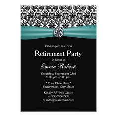 Black and White Damask Diamond Retirement Party Paper Invitation Card Farewell Party Invitations, Retirement Party Invitations, Sweet 16 Invitations, Retirement Parties, Invitation Paper, Personalized Invitations, Custom Invitations, Invites, Retirement Ideas