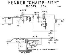 fender champ tube amp schematic model 5f1 guitar in