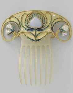 An Art Nouveau horn, enamelled gold, opal and pearl hair comb, 1900 - 1910. by AislingH