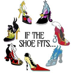 If the shoe fits Disney Villains High heel shoes Digital Iron Arte Disney, Disney Diy, Disney Love, Disney Ideas, Disney Villain Shirt, Disney Villains Quotes, Villains Party, Evil Disney, Disney Honeymoon