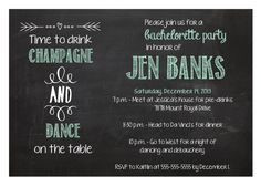 DIGITAL TIffany Blue Chalkboard Bachelorette Party Invitation - Time to Drink Champagne and Dance on the Table, www.etsy.com/shop/glassslipperdesigns #bachelorette #chalkboardinvitation #bacheloretteparty #timetodrinkchampagne