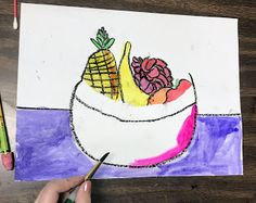 Elements of the Art Room: 2nd grade Paul Cezanne inspired Fruit bowls Fruit Art Kids, Fruit Bowls, Paul Cezanne, French Artists, Tapestry, Inspired, Artwork, Projects, Room
