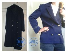 Before/ after coat - refashioning from http://pimprelys.over-blog.com
