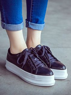 Black Lace Up Flatform Shoes