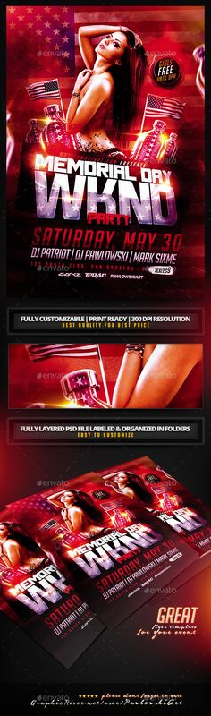 Memorial Day Weekend v2 PSD Flyer Template - Holidays Events