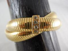 Vintage Double Gold Tone Interlocked Omega Chain Stretch Bracelet -  Rhinestone Accents by Dockb30Crafts on Etsy