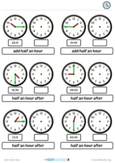 Generate random time arithmetic with clock faces Math Worksheets, Printable Worksheets, Teaching Resources, Printables, Worksheet Generator, Math Websites, Telling Time, Math For Kids