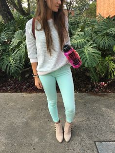 Give Some Color To The Cold Days #acgfashionblog #fashion #style #pants #greenpants #ankleboots #sweater #blogger Green Pants, Cold Day, Capri Pants, Ankle Boots, Skinny Jeans, Sweaters, Color, Fashion, Style