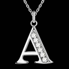 Letter A-S  Free Shipping silver plated Necklace, Stamp 925 fashion silver jewelry Fashion Pendant /XYLQNNAG XYLQNNAG -- Click the image for detailed description