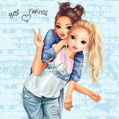 Best Friends Cartoon, Friend Cartoon, Cute Friends, Bff Images, Bff Pictures, Best Friend Pictures, Best Friend Drawings, Bff Drawings, Cartoon Girl Images