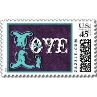 Royal purple and aqua blue vintage style wedding stamp. See more purple wedding inspiration: http://www.squidoo.com/purple-themed-wedding