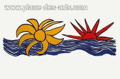 La lune et le soleil, Lithographie, du peintre, Alexandre, CALDER,