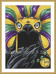 Raven cross stitch pattern - modern counted cross stitch - Mardi Gras Raven - Licensed Natalie Ewert by UnconventionalX on Etsy