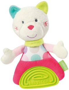 Stripes & Dots Fehn Grabber Plush Cat with Soft Teether: Amazon.co.uk: Toys & Games
