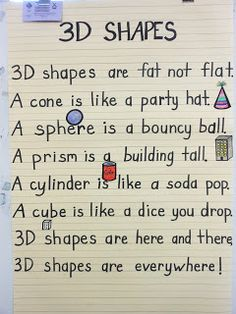 Love this 3D Shapes Poem!  (Lots of great ideas for working with shapes at this blog post.)