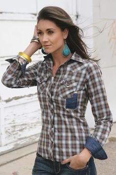 Southern Thread COWGIRL Plaid Denim Patches Stitching Sexy Shirt Western M NWT #southernthread #Western super cute top!