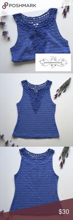 Postmark by Anthropologie Gorgeous Tank Top! Love! Brand new but no tags. Unworn. Postmark by Anthropologie, beautiful purple blue hue, amazingly intricate embroidery on shoulders, neck, and chest. Love this Tank worn with anything!!! Anthropologie Tops Tank Tops