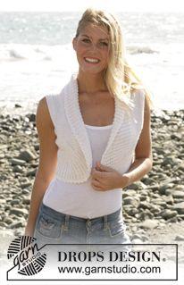 Free knitting patterns and crochet patterns by DROPS Design Crochet Bolero, Knit Shrug, Knit Cardigan, Knit Crochet, Drops Design, Vest Pattern, Free Pattern, Knitting Patterns Free, Free Knitting
