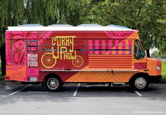 Branding & truck design for Curry Up Now, San Francisco's mobile indian street food truck. Food Design, Food Truck Design, Food Truck Business, Mini Camper, Starting A Food Truck, Mobile Food Trucks, Best Food Trucks, Food Vans, Curry