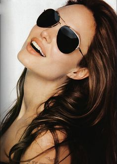 Angelina Jolie/ love her hair and sunglasses Fashion And Cheap Ray Ban Sunglasses Brown Frame Is Loved By More And More People! #Rayban #rayban #RayBanSunglasses While They just sale $12.99 on our store