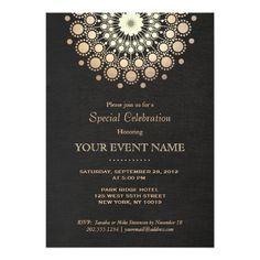Elegant Faux Gold Foil Circle Motif Black Formal Card Chalkboard Wedding Invitations Modern