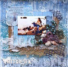 Scrap, Travel, and Bark!: New Fabscraps at the Flying Unicorn Store! Beach Scrapbook Layouts, Scrapbook Examples, Disney Scrapbook, Scrapbook Sketches, Travel Scrapbook, Scrapbooking Layouts, Scrapbook Cards, Mixed Media Canvas, Mixed Media Art