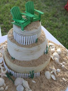 DIY beach chair wedding cake toppers  http://www.diynetwork.com/decorating/diy-weddings-cake-topper-ideas-and-projects/pictures/index.html?soc=pinterest